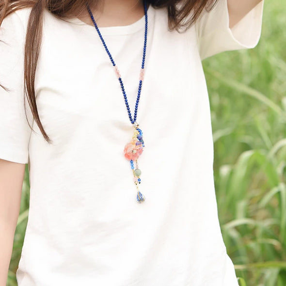 Samantha Flower Phoenix Blue Bead Necklace - Nature Reflections