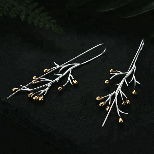 Iline Sterling Silver Dew Drop Pine Earrings - Nature Reflections