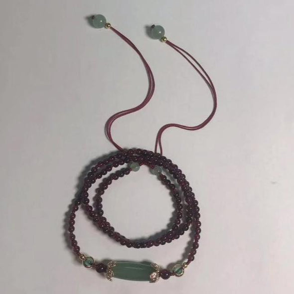 Lan Garnet and Aventurine Adjustable Necklace - Nature Reflections