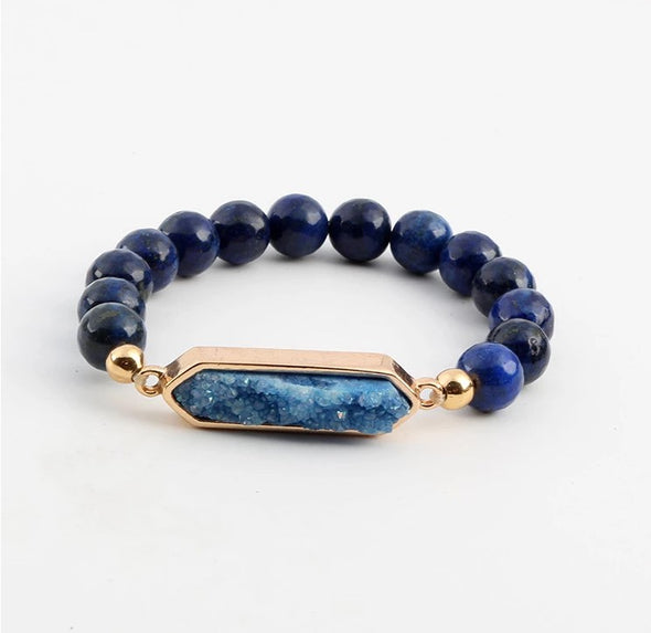 Louise Lapis Lazuli Drusy Quartz Bracelet - Nature Reflections