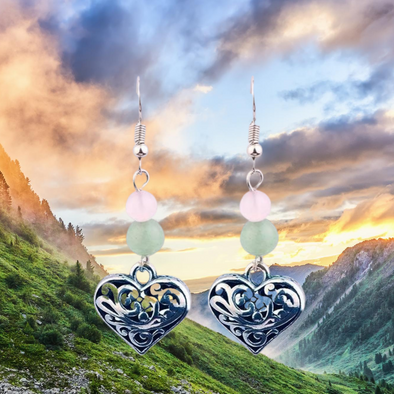 Marie Tibetan Heart and Stone Earrings