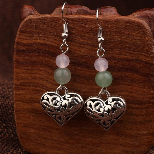 Marie Tibetan Heart and Stone Earrings - Nature Reflections