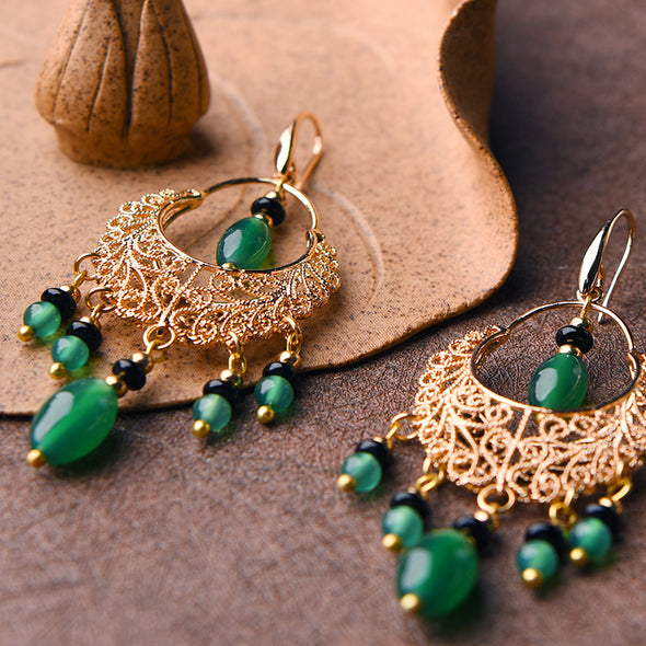 Mona Filigree Green Agate Earrings - Nature Reflections
