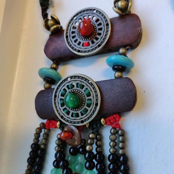 Nina Wood and Natural Stone Beaded Necklace - Nature Reflections