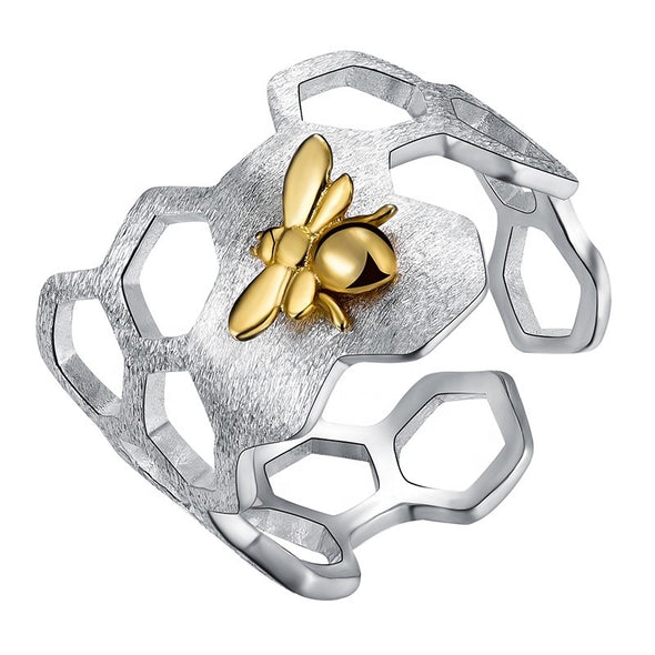 Scarlett Sterling Silver Handmade Honeycomb Bee Ring - Nature Reflections