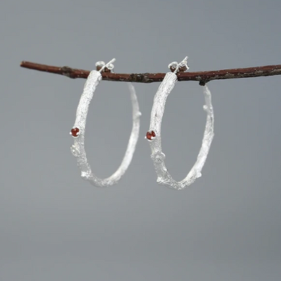 Serena Branch Sterling Silver Hoops - Nature Reflections