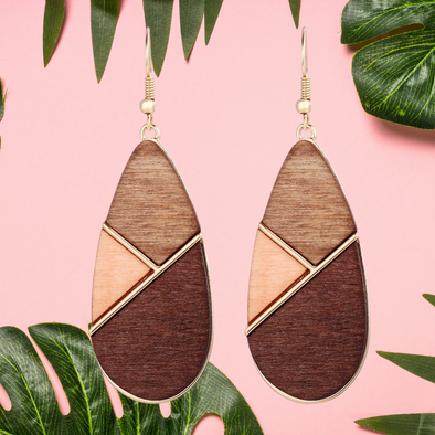 Alexandria Geometric Wood Earrings