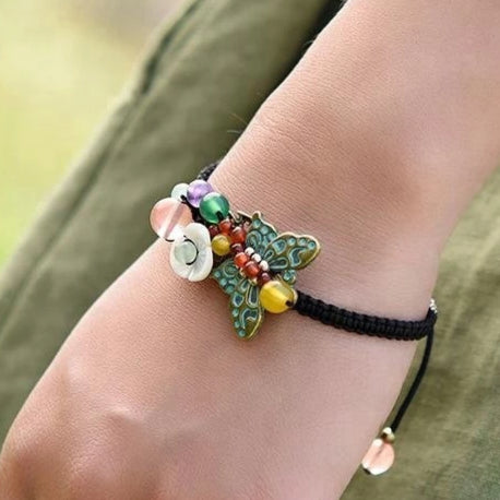 Patricia Butterfly and Beads Adjustable Bracelet - Nature Reflections