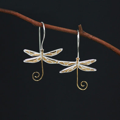 Ruth Sterling Silver Dragonfly Drop Earrings - Nature Reflections