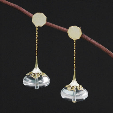 Staci Sterling Silver Modern Asian Crystal Drop Earrings - Nature Reflections