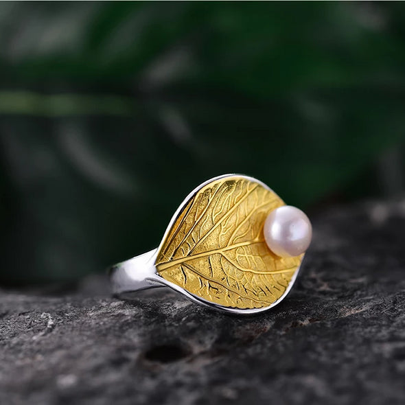 Esmeralda Sterling Silver Natural Pearl Handmade Leaf Ring - Nature Reflections