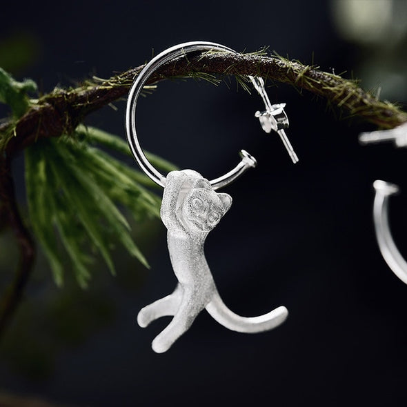 Verna Sterling Silver Cute Cat Drop Earrings - Nature Reflections