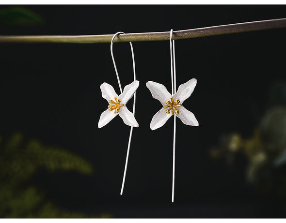 Bryleigh Sterling Silver Handmade Poetic Clover  Drop Earrings - Nature Reflections