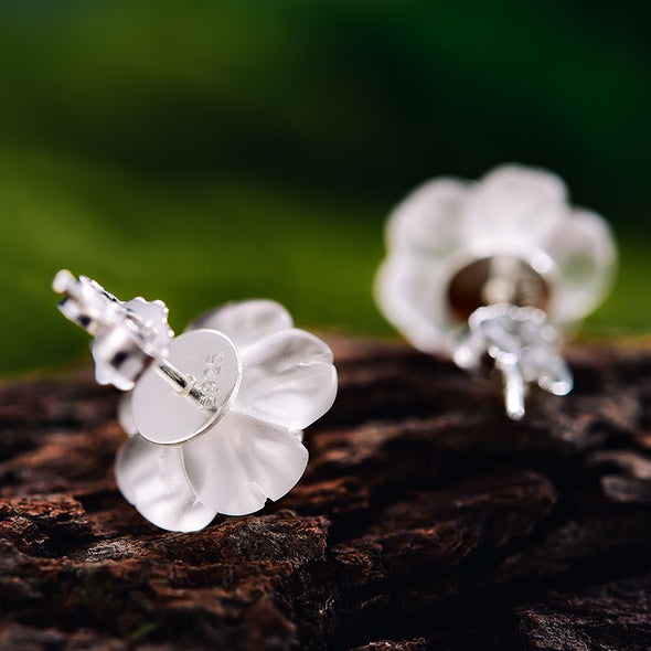 Kelsey Sterling Silver Natural Crystal Flower in the Rain Stud Earrings - Nature Reflections