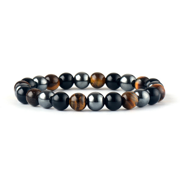 Darren Unisex Black Onyx Tiger Eye Hematite Bracelet - Nature Reflections