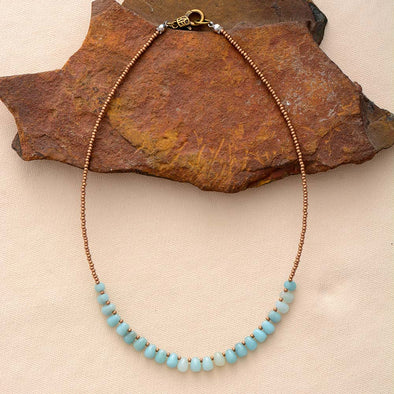 Helen Natural Amazonite  and Seed Bead Choker - Nature Reflections