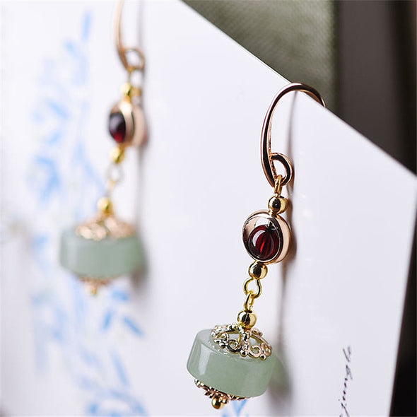Anh Garnet and Aventurine Drop Earrings - Nature Reflections