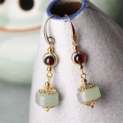 Anh Garnet and Aventurine Drop Earrings