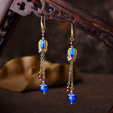 Christina Garnet and Blue Cloisonné Earrings - Nature Reflections