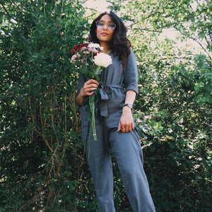 Grey Linen Jumpsuit