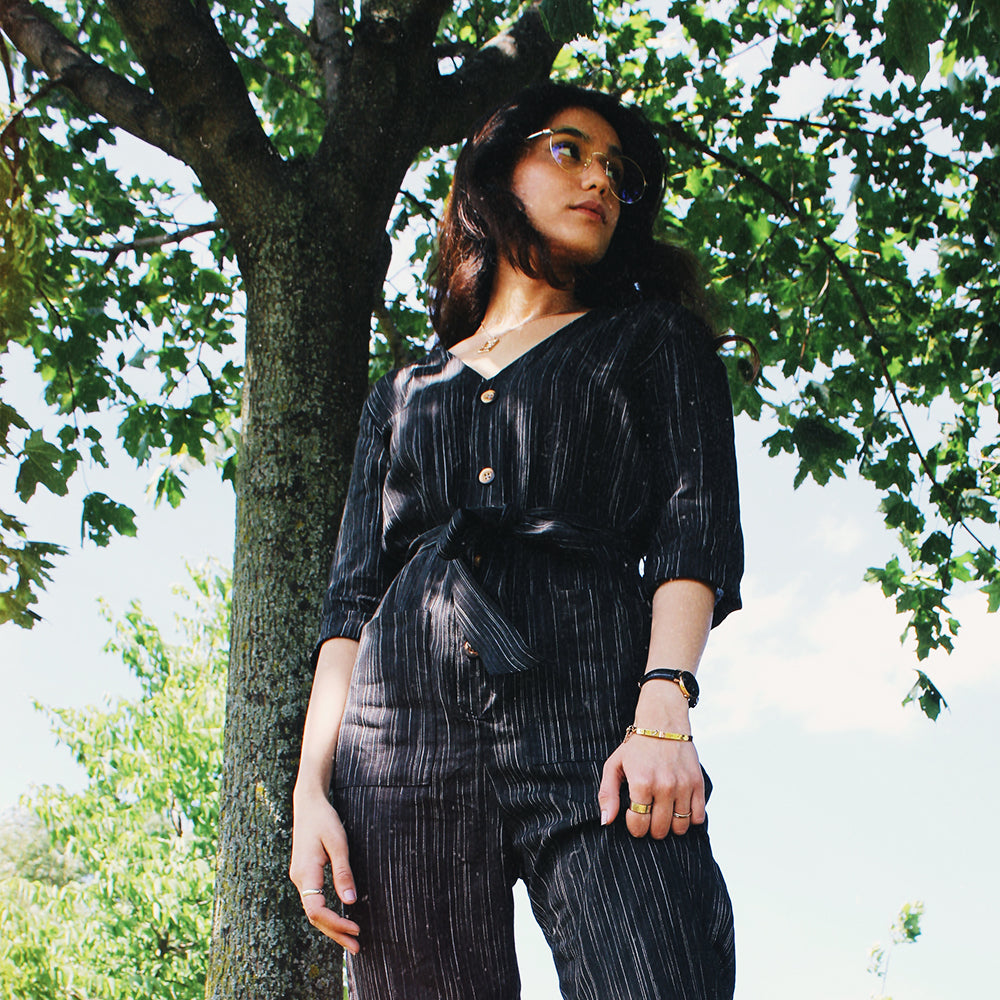 Pin Stripe Linen Jumpsuit