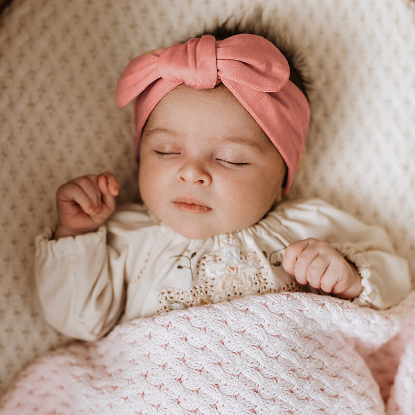 baby top knot headband | peach - Mumma + Bubba Collective.
