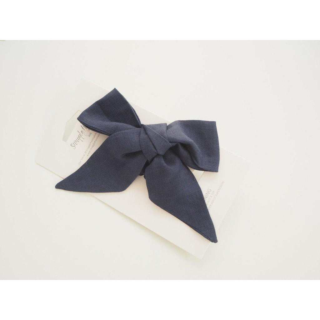baby linen bow headband wrap | navy - Mumma + Bubba Collective.