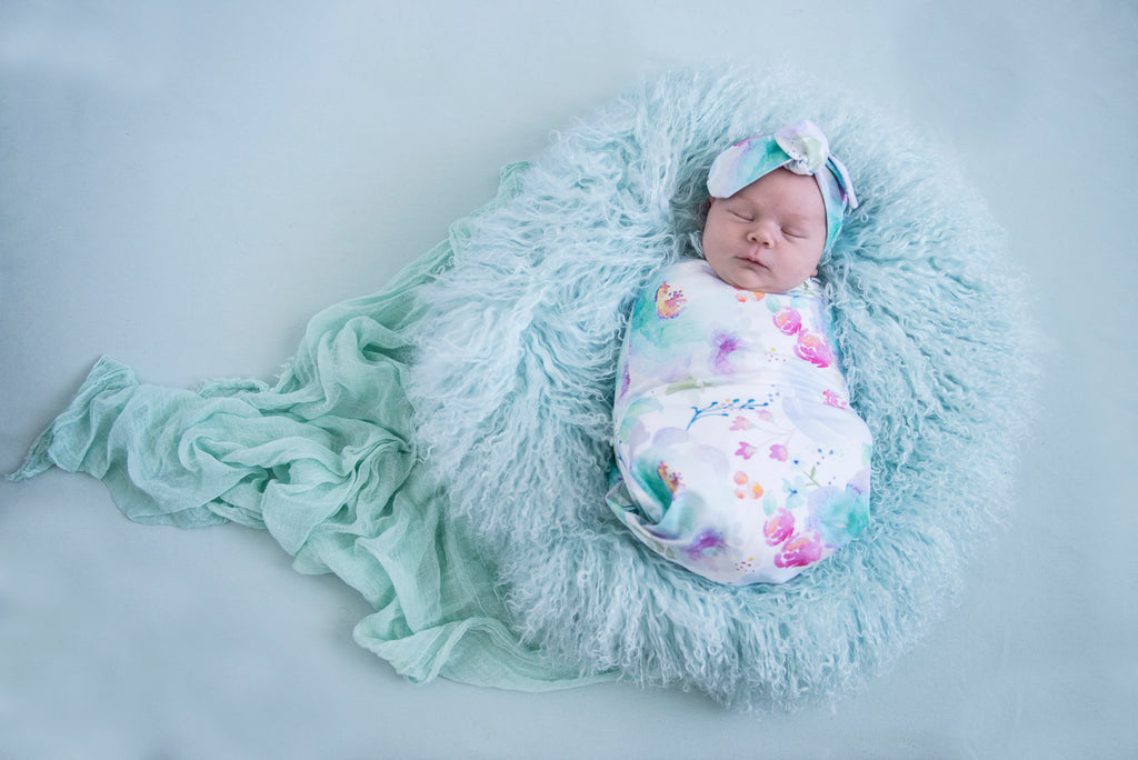 baby snuggle swaddle + top knot headband set | sweet petal - MUMMA + BUBBA COLLECTIVE