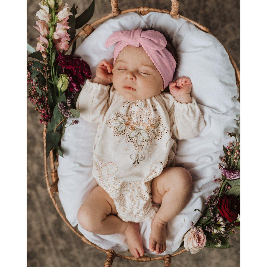 baby top knot headband | pink fantasy - Mumma + Bubba Collective.