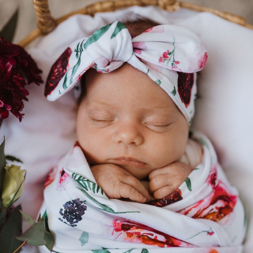 baby top knot headband | peony bloom - Mumma + Bubba Collective.