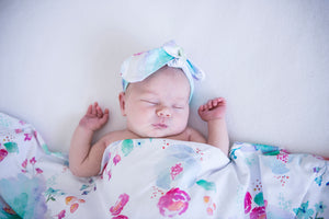 baby jersey wrap + top knot set | sweet petal - MUMMA + BUBBA COLLECTIVE
