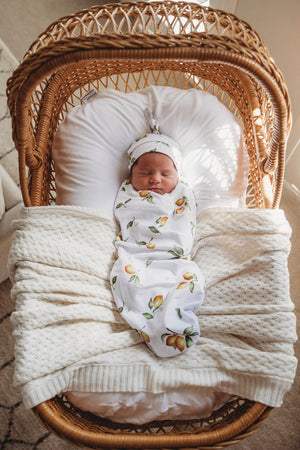 baby snuggle swaddle + knotted beanie set | lemon - MUMMA + BUBBA COLLECTIVE