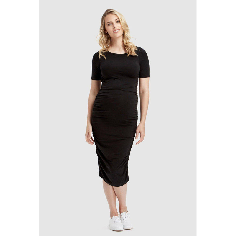 maternity dress | jasper ruched dress | black - MUMMA + BUBBA COLLECTIVE