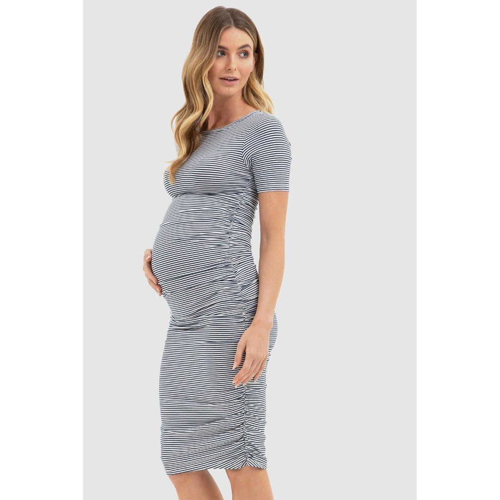 maternity dress | jasper ruched dress | navy + white stripe - MUMMA + BUBBA COLLECTIVE