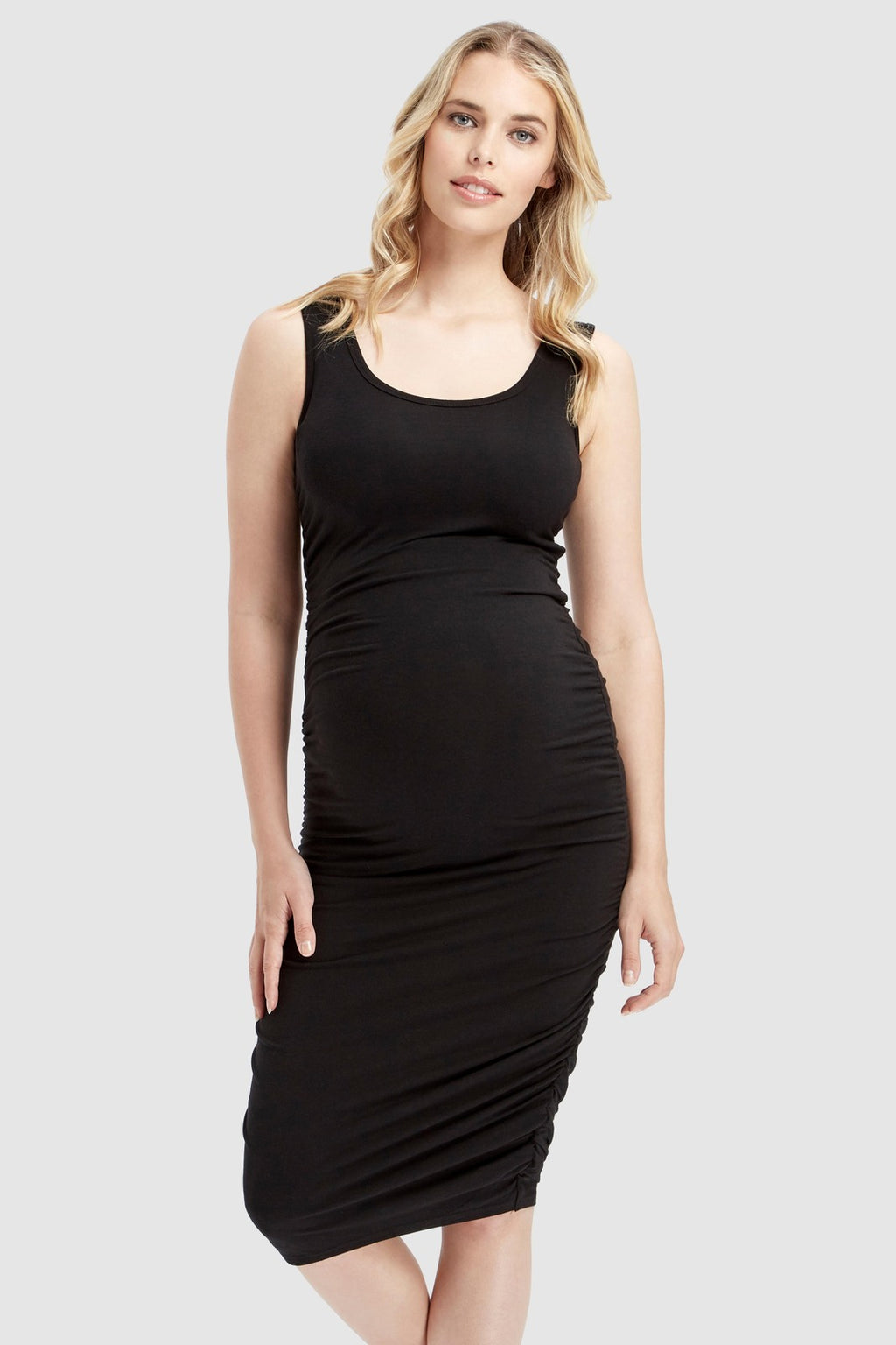 maternity dress | ruched tank dress | black - MUMMA + BUBBA COLLECTIVE