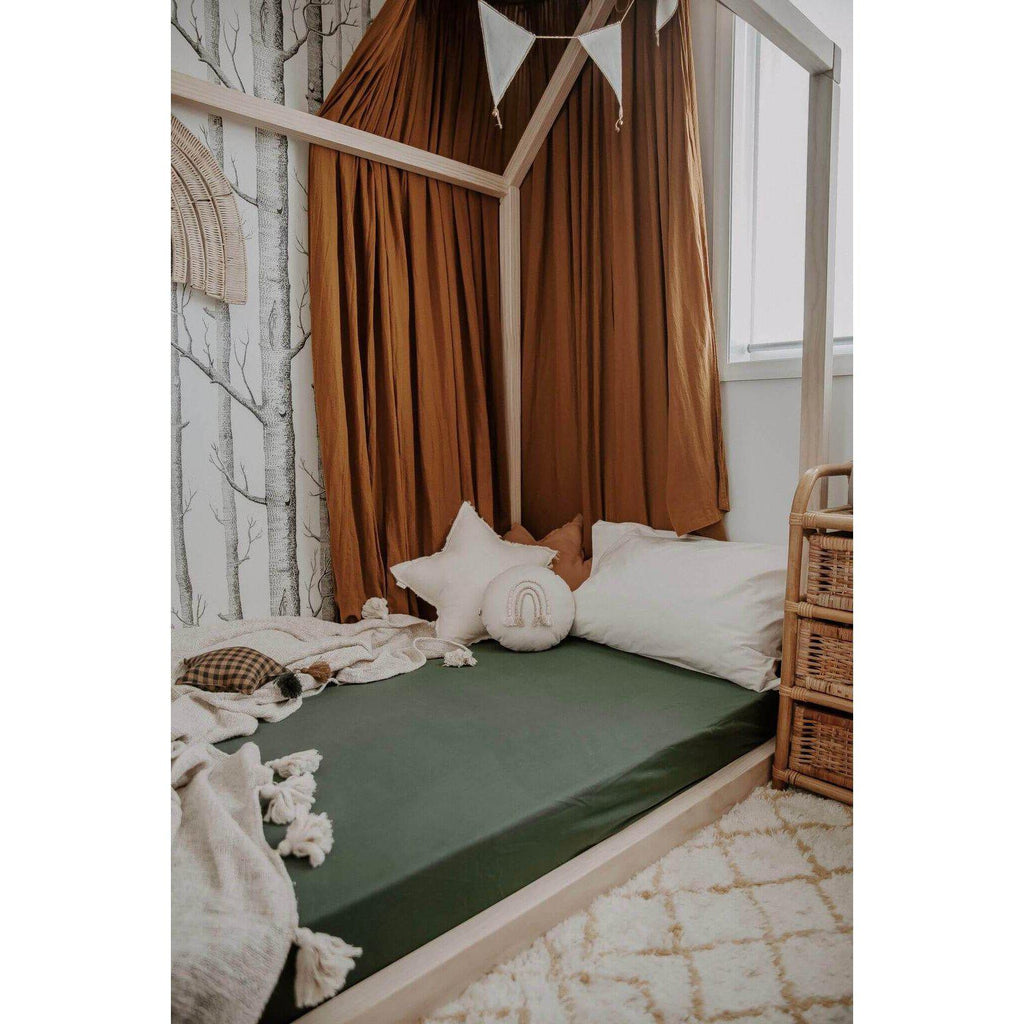 fitted cot sheet | olive