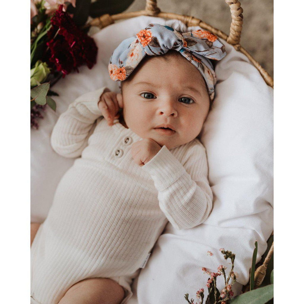 baby top knot headband | vintage blossom - Mumma + Bubba Collective.