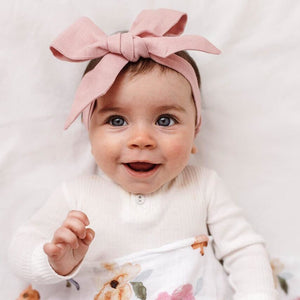 baby linen bow headband wrap | dusty pink - MUMMA + BUBBA COLLECTIVE