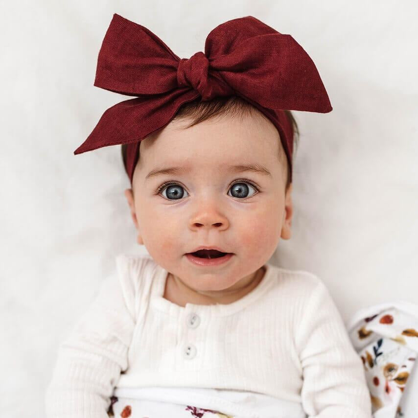 baby linen bow headband wrap | burgundy - Mumma + Bubba Collective.