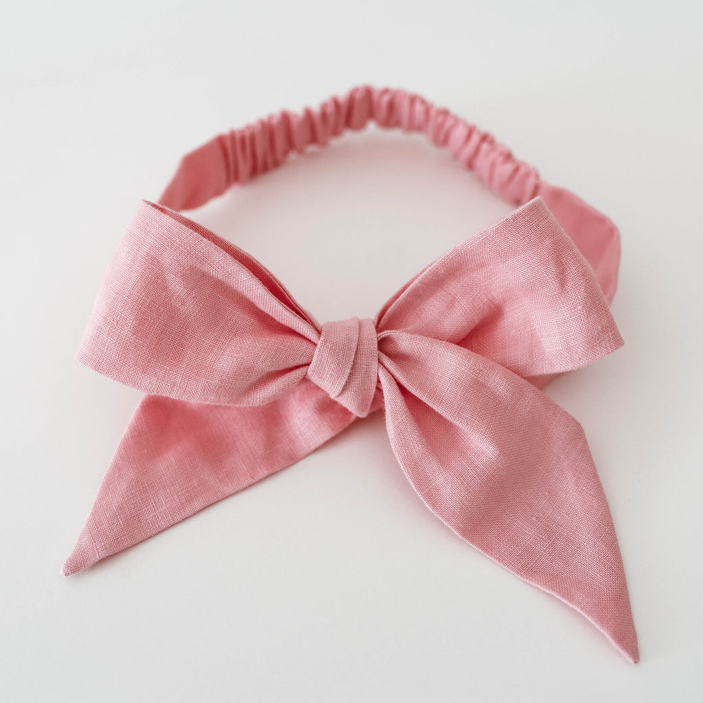 baby linen bow headband wrap | baby pink - Mumma + Bubba Collective.