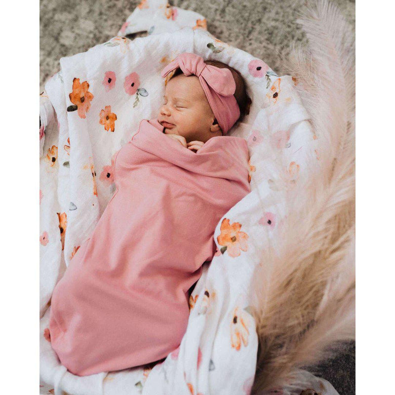 baby snuggle swaddle + top knot set | jewel pink - MUMMA + BUBBA COLLECTIVE