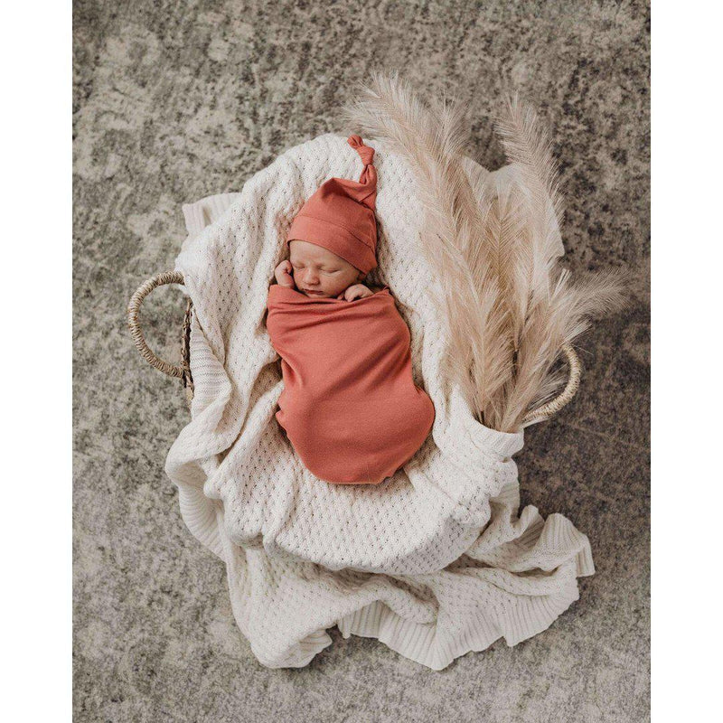 baby snuggle swaddle + knotted beanie set | clay - MUMMA + BUBBA COLLECTIVE