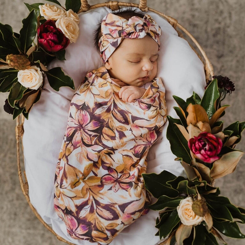 baby snuggle swaddle + top knot set | leilani - MUMMA + BUBBA COLLECTIVE