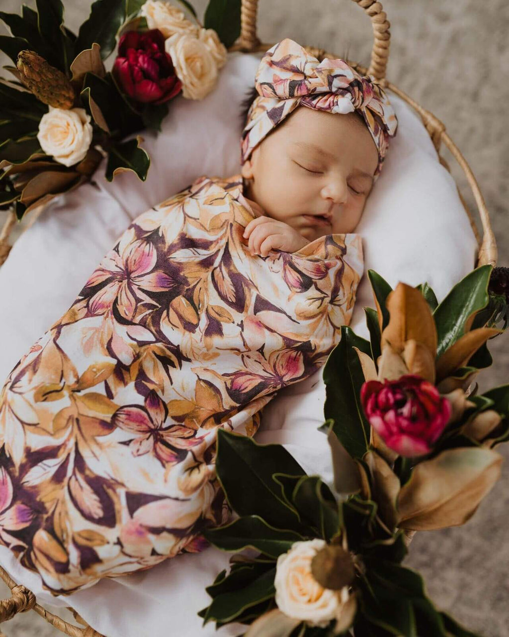 baby snuggle swaddle + top knot headband set | leilani - MUMMA + BUBBA COLLECTIVE