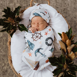 baby snuggle swaddle + knotted beanie set | shipwreck - MUMMA + BUBBA COLLECTIVE