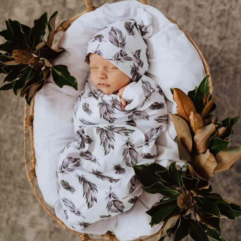 baby snuggle swaddle + knotted beanie set | quill - MUMMA + BUBBA COLLECTIVE