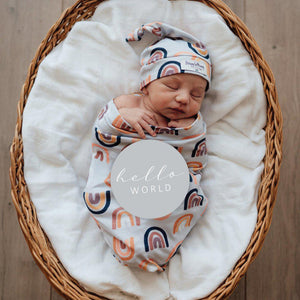 baby snuggle swaddle + knotted beanie set | sunset rainbow - MUMMA + BUBBA COLLECTIVE