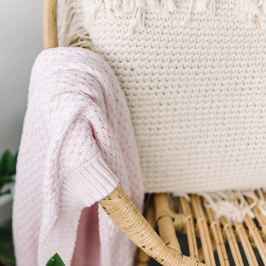 knitted baby blanket | diamond knit | blush pink