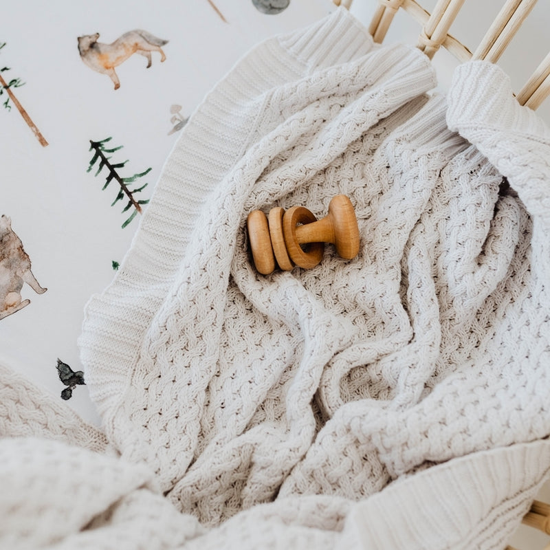 knitted baby blanket | diamond knit | warm grey - MUMMA + BUBBA COLLECTIVE