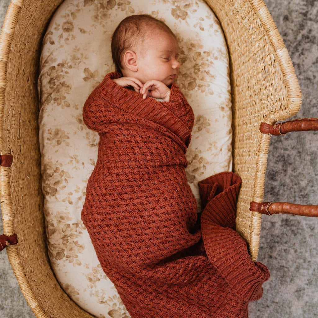 knitted baby blanket | diamond knit | umber rust